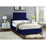 Sedona Navy Velvet Upholstered Tufted Platfrom Bed