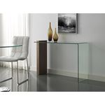 Buono Walnut Veneer/Clear Glass Console Table by C