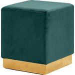 Jax Green Velvet Upholstered Ottoman/Stool - Gold