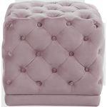 Stella Pink Velvet Upholstered Tufted Ottoman/Stoo