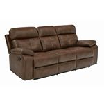 Damiano Tri-Tone Brown Leatherette Tufted Recliner Sofa 601691 By Coaster