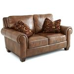Silverado Caramel Brown Leather Loveseat