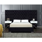 Grande Black Velvet Upholstered Tufted Platform Be