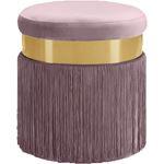 Yasmine Pink Velvet Upholstered Tasseled Ottoman/S