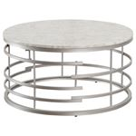 Brassica 34 inch Round White Faux Marble and Silver Coffee Table 3608SV-01 By Homelegance