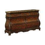 Exeter Bombe Marble Top Dark Burl 7 Drawer Dresser 222753 By Coaster