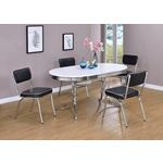 Retro Oval White and Chrome Dining Table 2065 with red