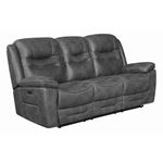 Hemer Grey Power Recliner Sofa with Power Headrest 603341PP By Coaster