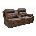 Damiano Tri-Tone Brown Leatherette Tufted Recliner Love Seat 601692 By Coaster