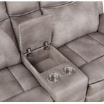 Lawrence Taupe Fabric Reclining Loveseat with Co-3