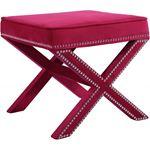 Nixon Pink Velvet Upholstered Ottoman/Bench