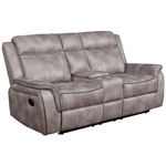 Lawrence Taupe Fabric Reclining Loveseat with Console 603502 By Coaster