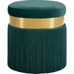 Yasmine Green Velvet Upholstered Tasseled Ottoman/