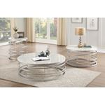 Brassica 34 inch Round White Faux Marble and Sil-3