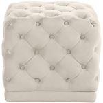 Stella Cream Velvet Upholstered Tufted Ottoman/Sto