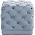 Stella Sky Blue Velvet Upholstered Tufted Ottoman/