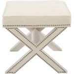 Nixon Cream Velvet Upholstered Ottoman/Bench - 3