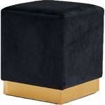 Jax Black Velvet Upholstered Ottoman/Stool - Gold