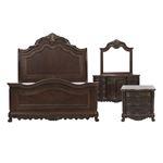 Deryn Park Cherry Queen Sleigh Bed 4pc Bedroom Set 2243SL-1*4 by Homelegance