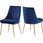 Karina Navy Upholstered Velvet Dining Chair - Gold