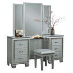 Allura Silver 6 Drawer Vanity Dresser with Mirror