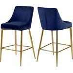 Karina Navy Velvet Upholstered Bar/Counter Stool -