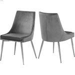 Karina Grey Upholstered Velvet Dining Chair - Chro