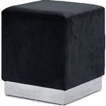 Jax Black Velvet Upholstered Ottoman/Stool - Chrom