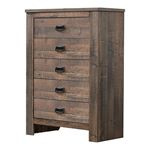 Frederick Weathered Oak 5 Drawer Chest 222965 By Coaster