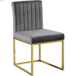 Giselle Grey Upholstered Velvet Dining Chair - G-3
