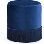 Teddy Navy Velvet Upholstered Ottoman/Stool