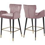 Luxe Pink Velvet Upholstered Tufted Bar/Counter St