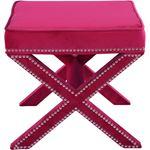 Nixon Pink Velvet Upholstered Ottoman/Bench - 3