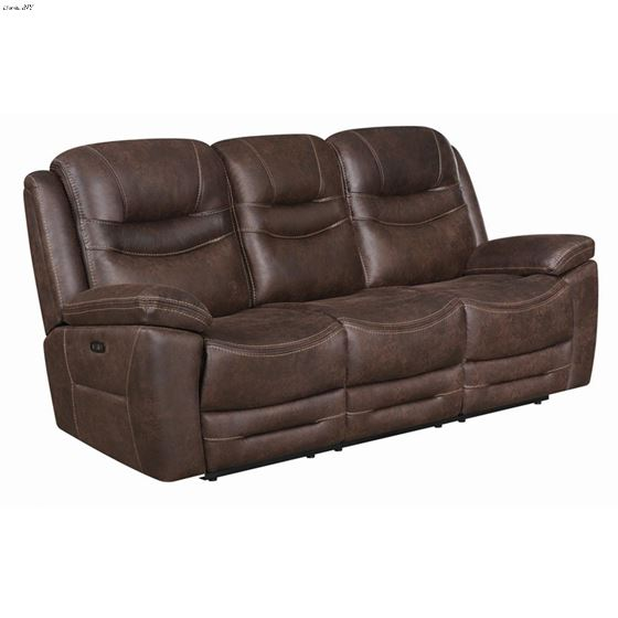 Hemer Chocolate Power Recliner Sofa with Power Headrest 603331PP By Coaster