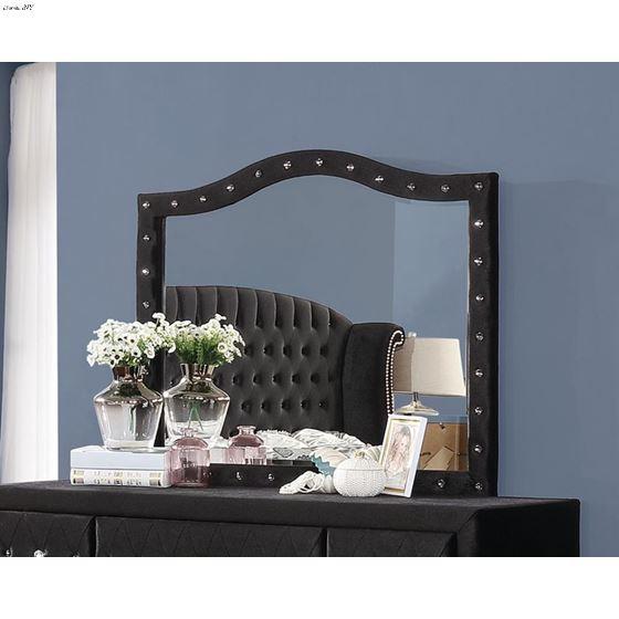 Deanna Black Velvet Button Tufted Mirror 206104-3