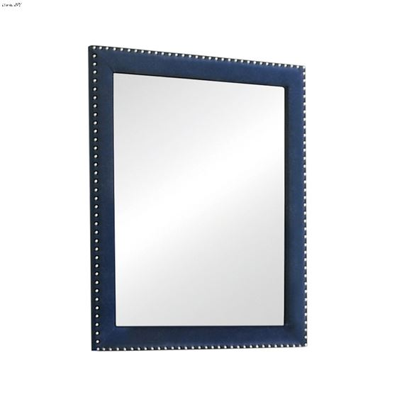 Melody Rectangular Pacific Blue Upholstered Mirror 223374 By Coaster