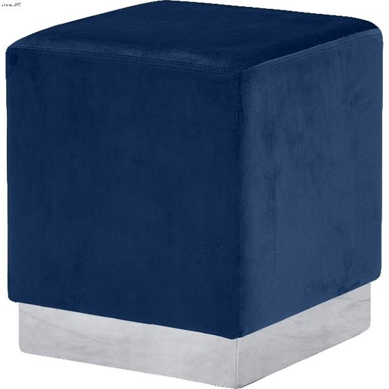 Jax Navy Velvet Upholstered Ottoman/Stool - Chrome