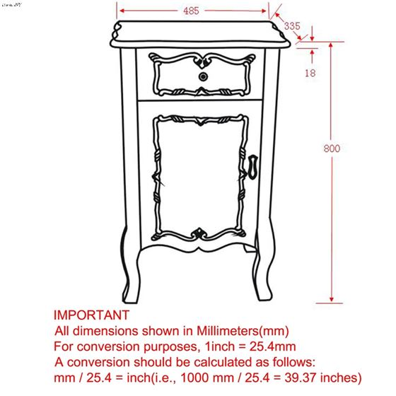 Krista Accent Table 501-169 - dimensions
