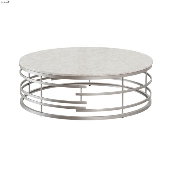 Brassica 45 inch Round White Faux Marble and Silver Coffee Table 3608SV-01XL By Homelegance