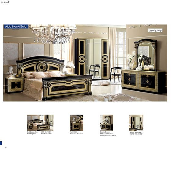 Aida Black with Gold Bedroom