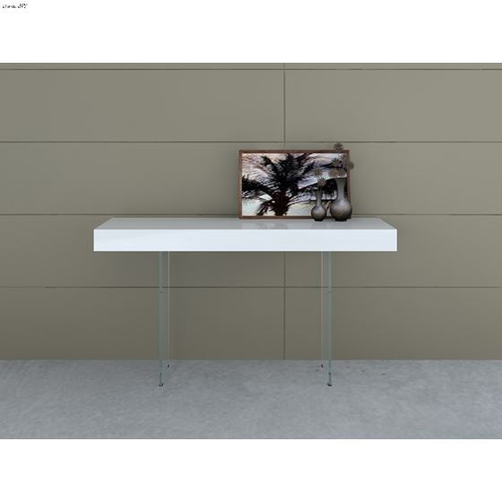 IL Vetro High Gloss White Lacquer Console Table by