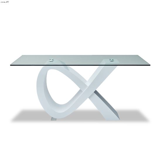 Modern 989 White Base Glass Top Dining Table
