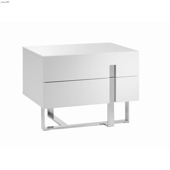 Collins High Gloss White Lacquer Nightstand / End