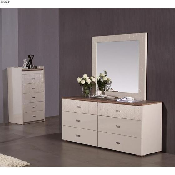 Charm High Gloss Beige 6 Drawer Dresser