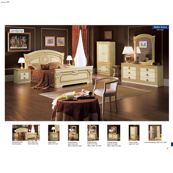 Aida Ivory with Gold Bedroom