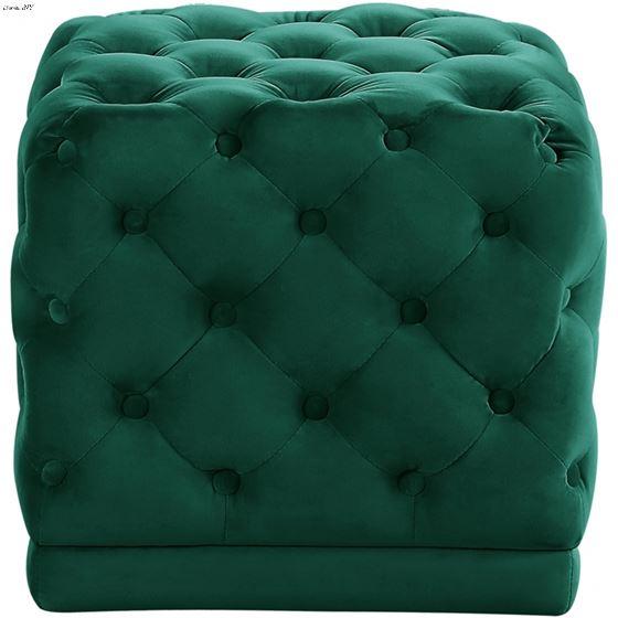 Stella Green Velvet Upholstered Tufted Ottoman/Sto