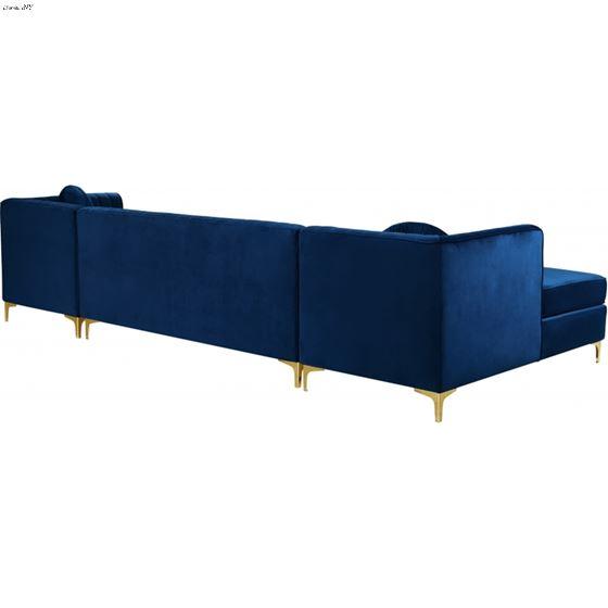 Graham Navy Velvet Upholstered Sectional- Gold- 3