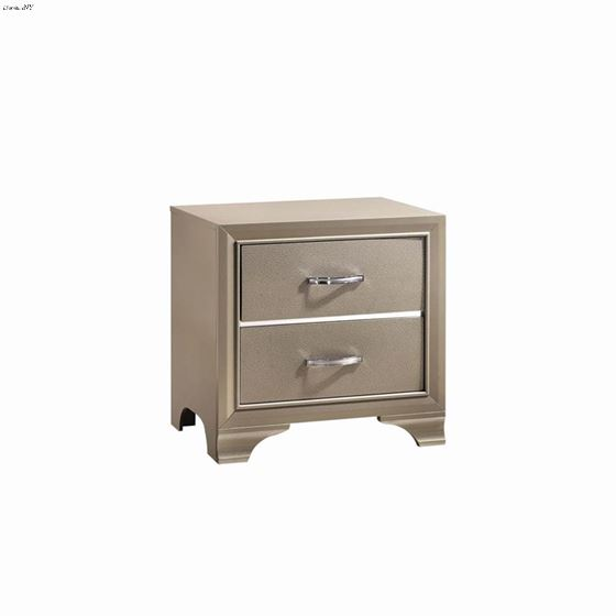 Beaumont Champagne 2 Drawer Nightstand 205292 By Coaster