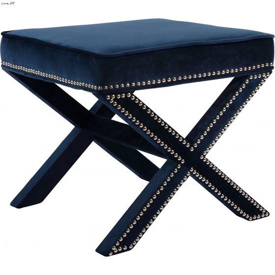Nixon Navy Velvet Upholstered Ottoman/Bench