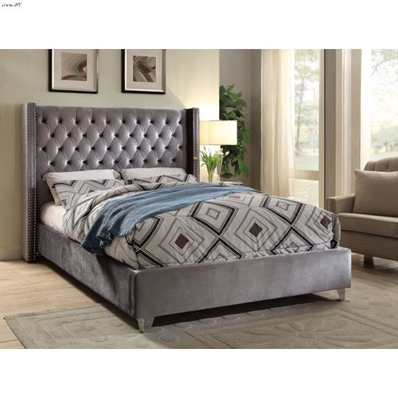 Aiden Grey Tufted Velvet Platform Bed Room Scene